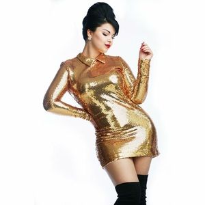 Gold Sequins 60's NastyGal Dress Size M
